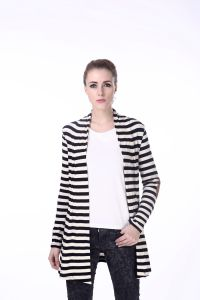 Women′s Black and White Stripe Coat Jacket Cadigan pictures & photos