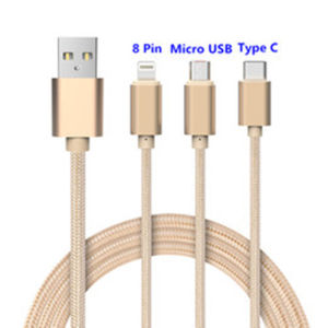 3 in 1 USB to Type C Charge Cable Multiple USB Connector Charge Cable Durable Nylon Braided Material pictures & photos
