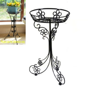 Black Metal Ground Decoration Linellae Flowerpot Rack Craft for Home pictures & photos