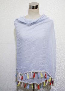 Lady Fashion Cotton Polyester Voile Scarf with Colorful Tassels (YKY1165) pictures & photos