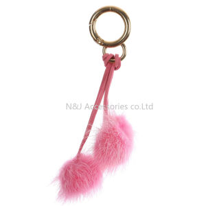 Wholesale Faux Fur POM POM Bag Accessory Fuschia Double Balls Keychain Jewelry Gift pictures & photos
