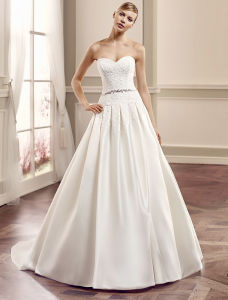 Sweetheart Ruffle Organza Wedding Gown Pleated Bridal Dresses pictures & photos