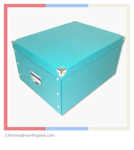Cardboard Apparel Storage Box with Metal Handle pictures & photos