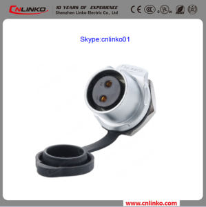 Cnlinko Brand IP67 Power Connector 2pin for Industrial Equipment Panel Mount Socket with Dust Cover pictures & photos