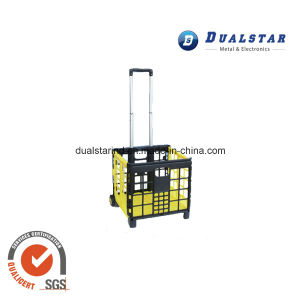 Telescopic Plastic Rolling Supermarket Shopping Basket