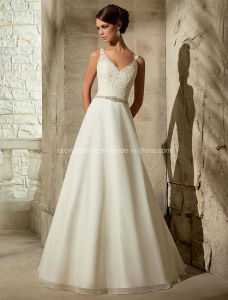 Spaghetti Strap Bridal Gown Backless Wedding Dress pictures & photos