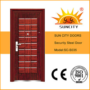 Deep Mould Steel Skin Pressed Metal Doors (SC-S035) pictures & photos