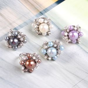 Fashion Jewelry Fashion Ring Pearl and Diamond Ring Costume Jewelry Open Ring 10 Colors Brige Ring pictures & photos