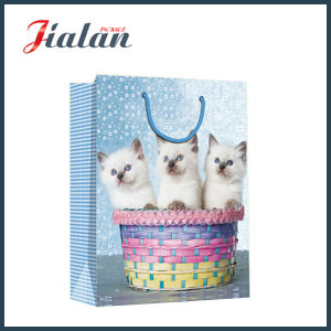 Glossy Laminated Coated Paper Cat Picture Shopping Gift Paper Bag pictures & photos