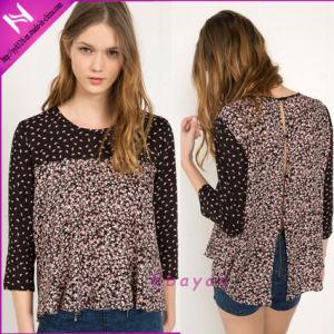 Lady′s Fashion Long Sleeve Contrast Printed Rayon Shirt