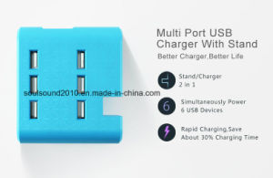 Wholesale AC 100-240V 6 Ports USB Cell Phone Charger with Stand (ID533)