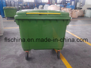Eco-Friendly 660L Plastic Waste Bin with Four Wheels pictures & photos