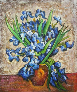 Vincent Van Gogh Reproduction Hand Painted Oil on Canvas Irises in Vase (LH398000) pictures & photos