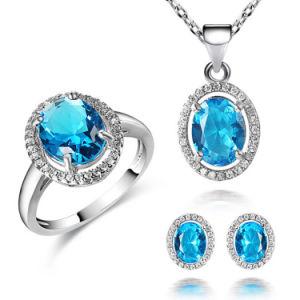 Elegant Fashion Imitation Zircon Stone Blue Topaz Jewelry Set