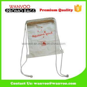 Small Size White Cotton Drawstring Backpack Bag for Child pictures & photos