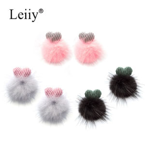 Women Heart Double Sided Fashion Jewelry POM Poms Ball Stud Earrings pictures & photos