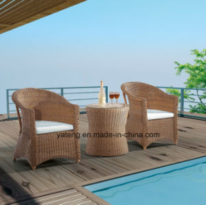 Small Round Sythetic Rattan Outdoor Garden Furniture Balcony Set by Chair &Ottoman&Side Table (YT291) pictures & photos