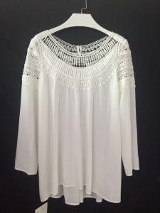 2016 Summer Lace Openwork Stitching Loose Chiffon Shirts Women Tee