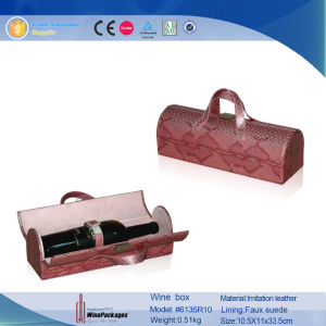 New Design Snakskin Patterned PU Leather Wine Carrier (6135R12) pictures & photos