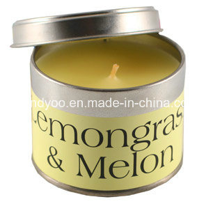 Scented Soy Yellow Tin Candle with Lid pictures & photos