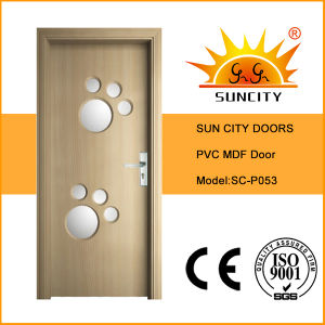Factory Glass Door Design MDF Wooden Doors (SC-P053) pictures & photos