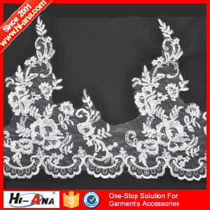 Stict QC 100% Hot Sale Embroidery Lace Fabric pictures & photos