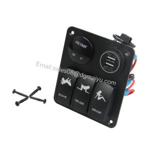 Waterproof 3 Gang Rocker Switch Panel + 12V LED Voltmeter + Double USB Power Outlet Charger for Marine / Boat / Car pictures & photos