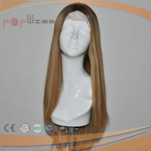 Human Hair Omber Dark Roots Blonde Color Hand Tied Wig pictures & photos
