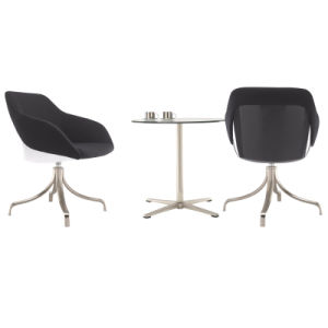 Upholstery Rotary Office Coffee Chair with Stainless Steel Base pictures & photos