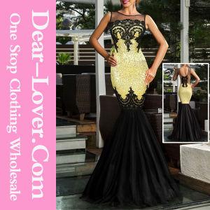 Gold Sequin Applique Evening Party Mermaid Dress pictures & photos