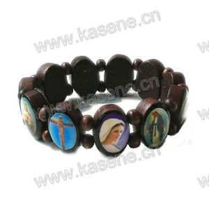 Ellipse Dark Coffee Religious Wooden Rosary Bracelet with Saint Picture pictures & photos
