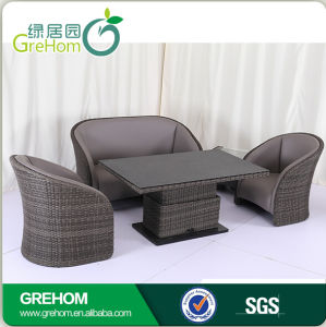 Outdoor Leather Rattan Sofa with Liftable Table