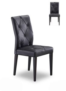 Modern Black Fibre PVC PU Leather Dining Chair with Wooden Leg