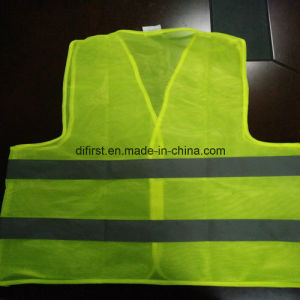 Basic Safety Vest Flu Yellow 100%Polyester Knitting Fabric pictures & photos