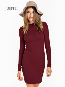Rib Neckline Shift Knit Women Dress pictures & photos
