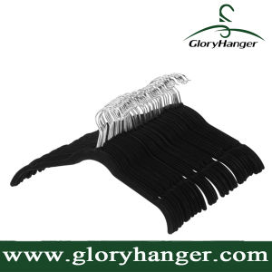 Black Velvet Shirt/Dress Hangers with Chrome Hook pictures & photos