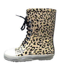 Girls Lace up Leopard Rain Boots pictures & photos