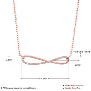 Whloesale Foreign Eight Shape Zircon Pendant Necklace Rose Gold Plated Design for Women pictures & photos
