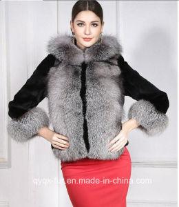 New Women′s Fashion Long Sleeve Patckwork Faux Fur Jacket pictures & photos