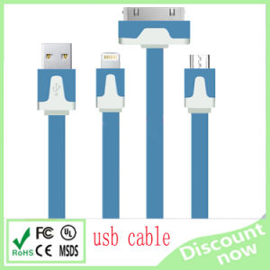 3 in 1 Noodle High Quality Two Type USB Cable for iPhone Sangsung HTC pictures & photos