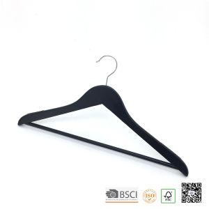 Black Pants Bar Non Slip Shoulder Wood Coat Hangers Wooden Clothes Hanger Hangers for Jeans pictures & photos