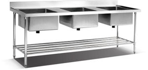 Stainless Steel Triple Sink Table with Perforated Shelf pictures & photos