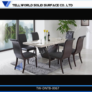 CE and OEM White High Glossy Marble Dining Table and Chairs Dining Room Furniture pictures & photos