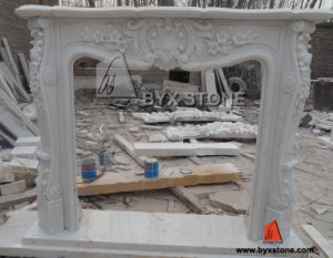 Outdoor White Marble Stone Fireplace with Flowers Carving pictures & photos