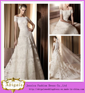 Charming A Line off The Shoulder Short Sleeve Floor Length Lace Vintage Lace Wedding Dresses Short (HS008)
