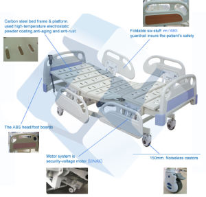 3 Functions Electric Hospital Bed Hydraulic ICU Hospital Bed for Sale pictures & photos