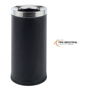 Circle Black Powder Coated Steel Dustbin pictures & photos