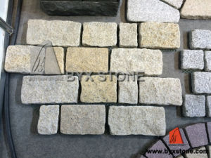 Yellow / Grey Granite Cobblestone on Mesh for Outdoor pictures & photos