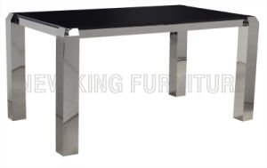 Modern Luxurious Temper Glass Top with Stainless Steel Foot Dining Table (NK-DT033) pictures & photos