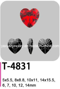 Crystal Elements Fancy Loose Pointback Heart Fashion Jewelry Garment Accessory Parts Ornament Stone Bead (T-4831)
